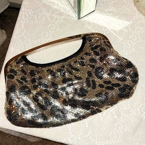 Express gold and black evening purse